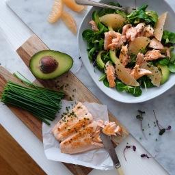 Grapefruit, Avocado and Pan Fried Salmon Salad