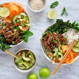 Rice Noodle Sticky Chicken Bowls