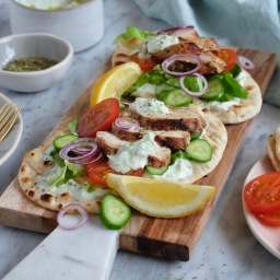 Greek Yoghurt Chicken Flatbreads with Tzatziki