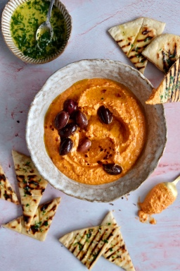 Roasted Red Pepper & Feta Dip With Homemade Flatbreads